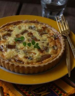 Quiche de calabaza, membrillo y gorgonzola